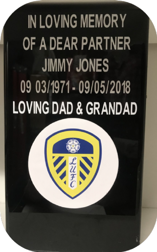 Leeds United F. C. Square grave flower pot.